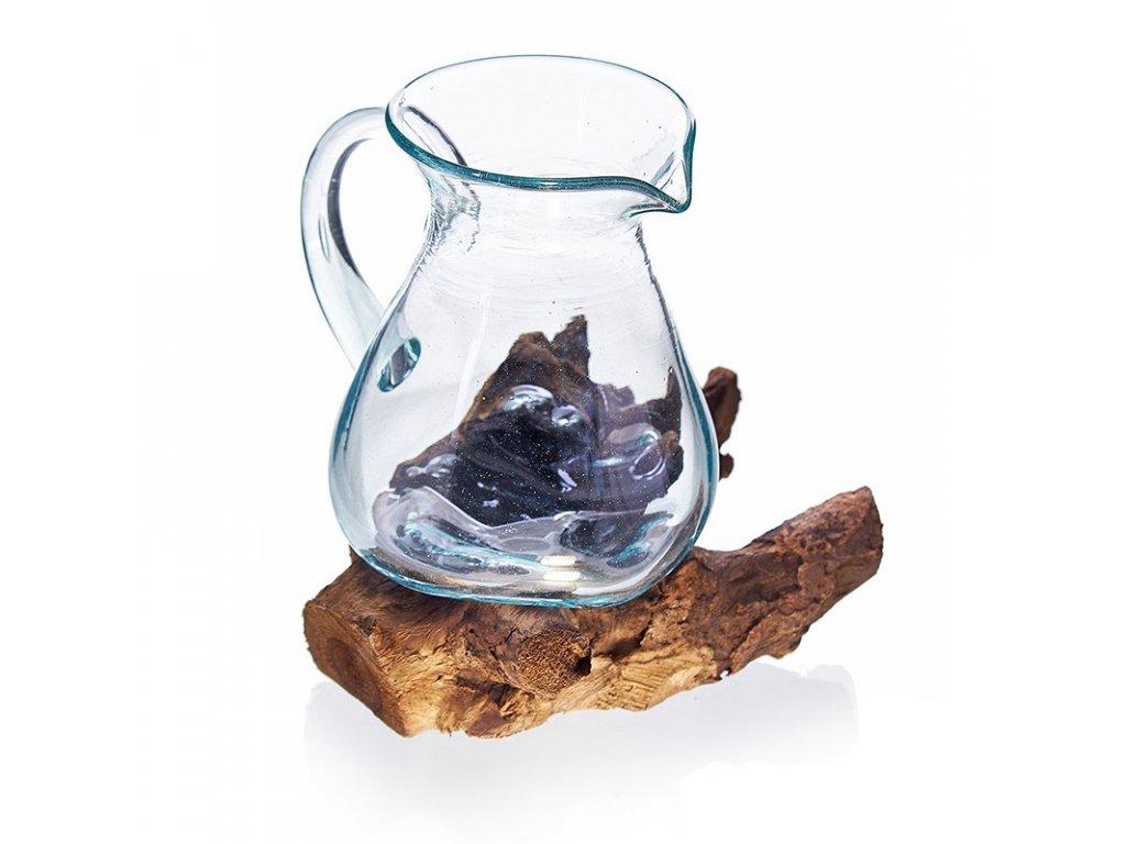 roztavene sklo na dreve dzban