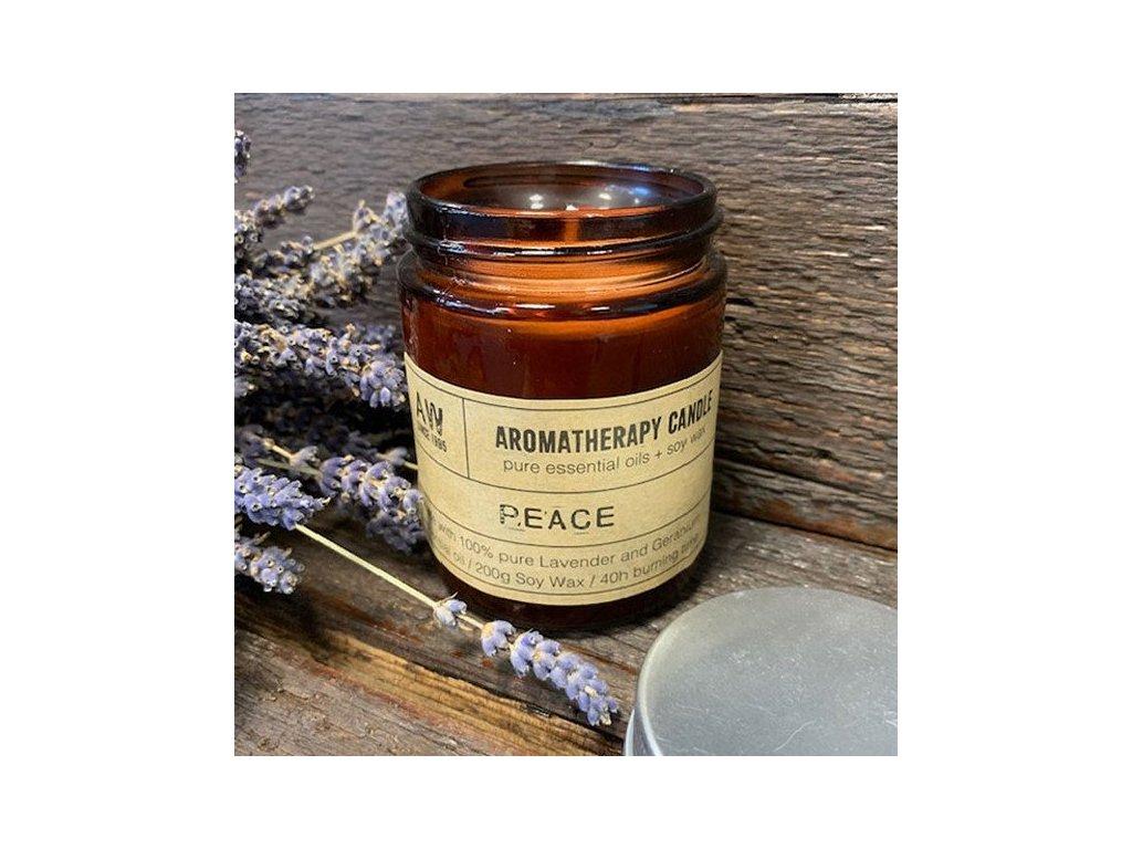 aromaterapeuticka sojova sviecka mier