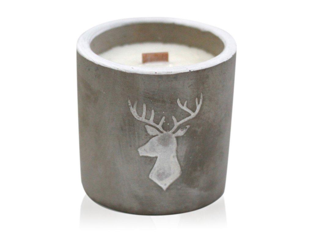 sojova sviecka betonova stredna jelen whisky dym