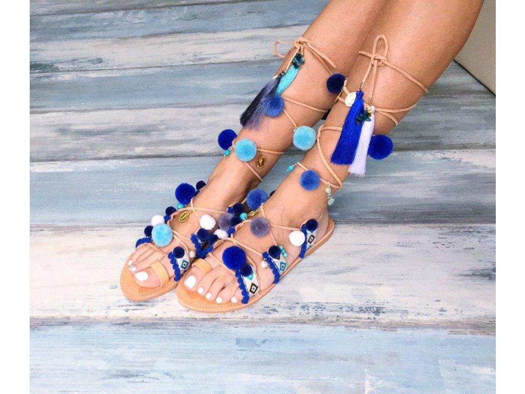 """Bohémske sandále, šnurovacie Pom-Pom """"Delphinium"""" (Veľkosť EU 42)"""