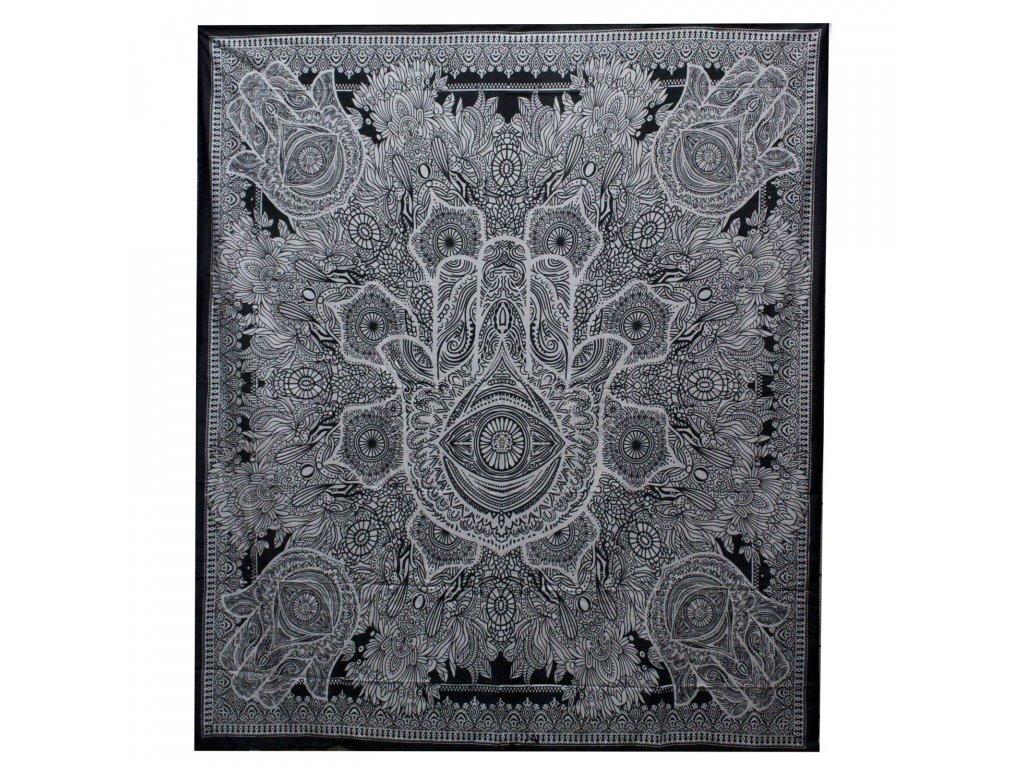 bavlnena prikryvka na postel hamsa cierna dvojlozkova