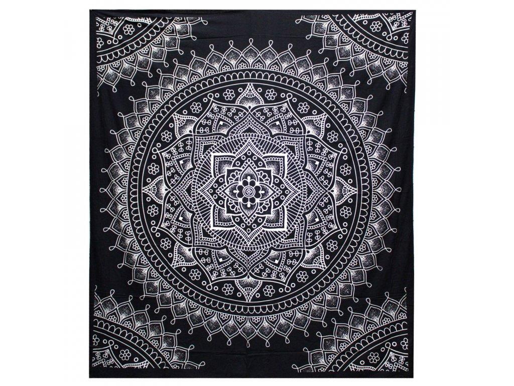 bavlnena prikryvka na postel lotosovy kvet cierny dvojlozkova
