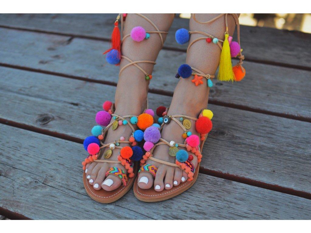Pom pom sandals Peony1