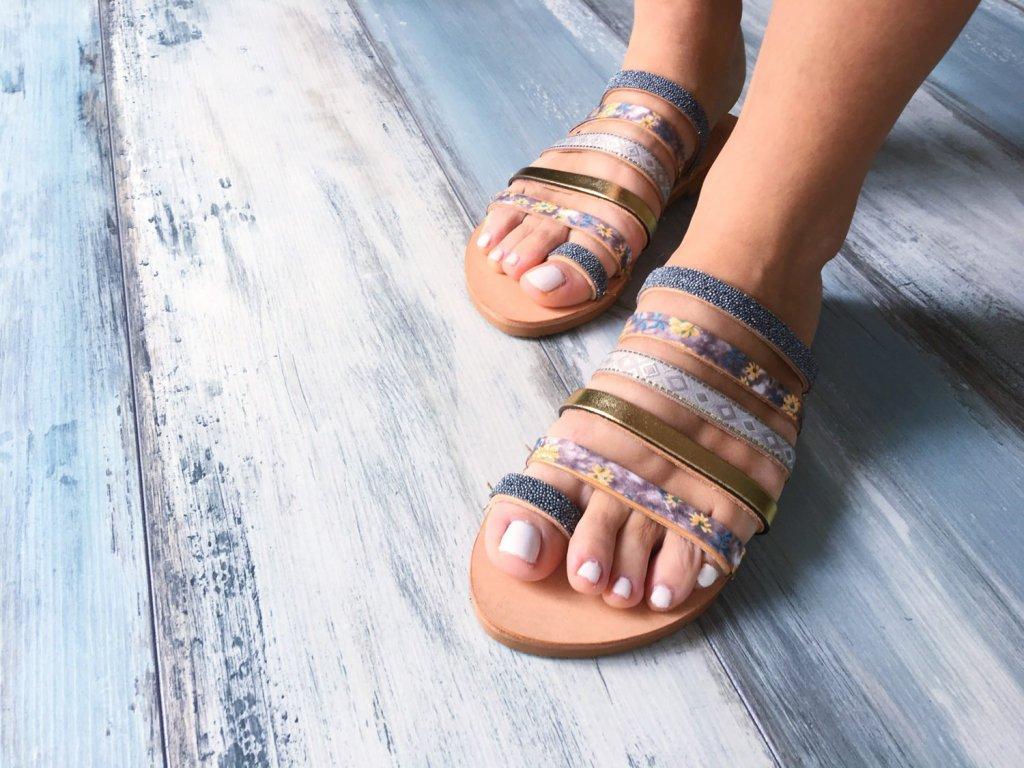 """Kožené grécke sandále """"Echeveria"""" (Veľkosť EU 42)"""