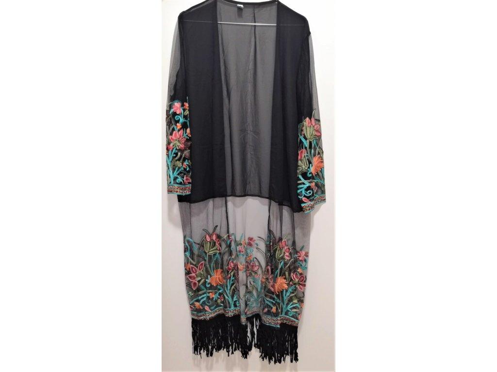 Kvietkované bohémske kimono - čierne (veľkosť S)