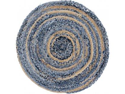 Okrúhly Koberec z juty a recyklovanej rifloviny - 90 cm (veľkosť 90 cm)