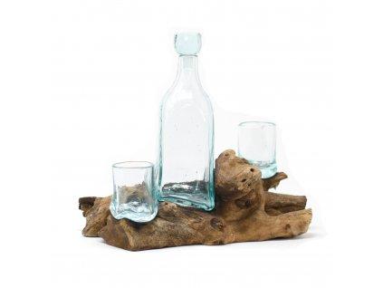 whisky set roztavene sklo na dreve