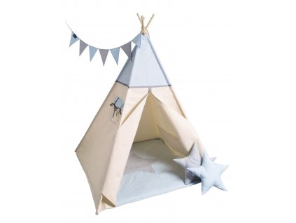 detsky teepee stan mint grey stars
