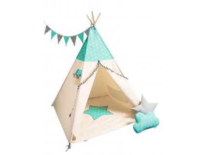detsky teepee stan mint grey stars1