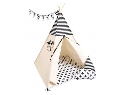 detsky teepee stan black white