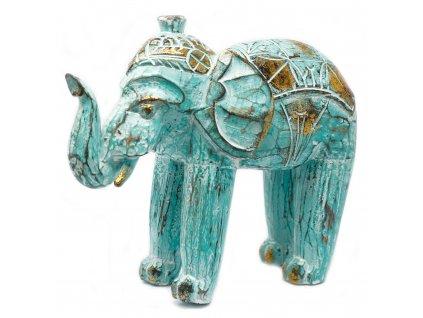 socha slona rucne vyrezavana tyrkysova (1)