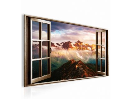 obraz 3D okno rakuske alpy (1)