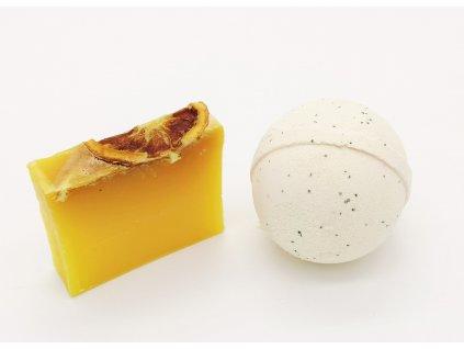 šumivá bomba + prírodné mydlo citrón