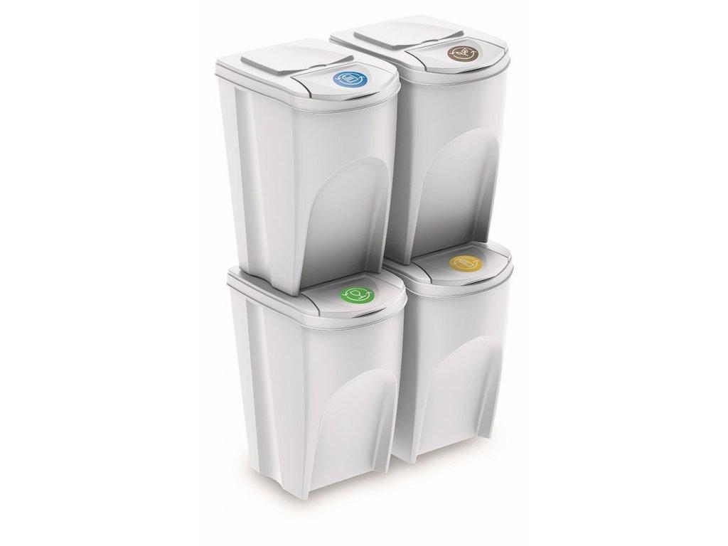 Sada 4 odpadkových košů SORTIBOX IV bílá, objem 4x35L