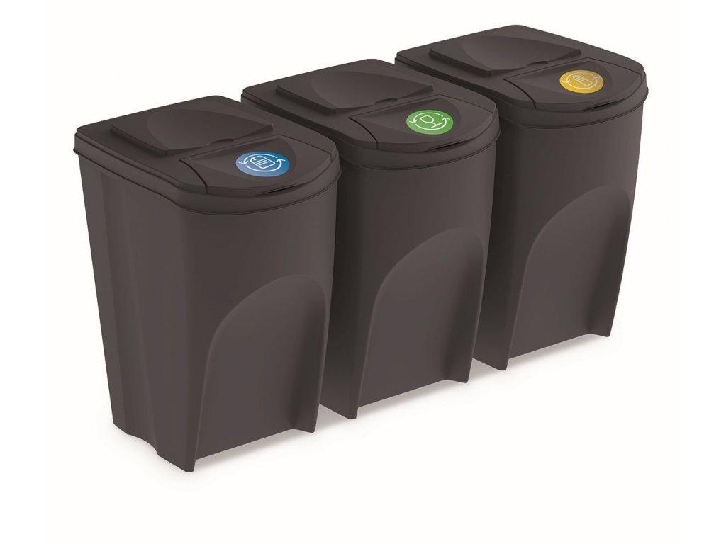 Sada 3 odpadkových košů SORTIBOX IV antracit, objem 3x35L