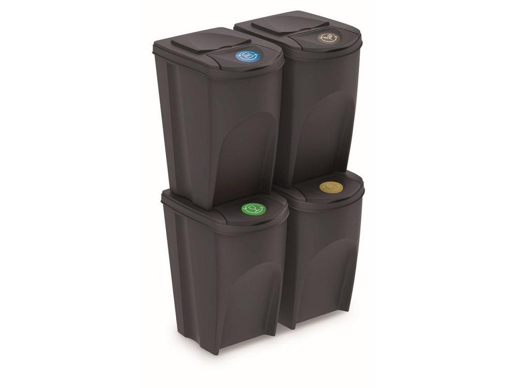 Sada 4 odpadkových košů SORTIBOX IV antracit, objem 4x35L