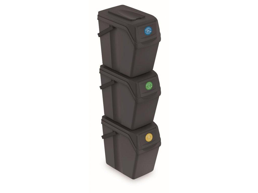 Sada 3 odpadkových košů SORTIBOX II antracit, objem 3x25L