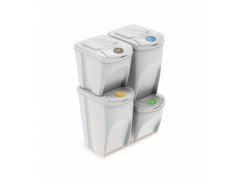 Sada 4 odpadkových košů SORTIBOX V bílá, objem 2x25l a 2x35l