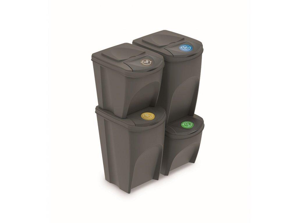 Sada 4 odpadkových košů SORTIBOX V šedý kámen, objem 2x25l a 2x35l