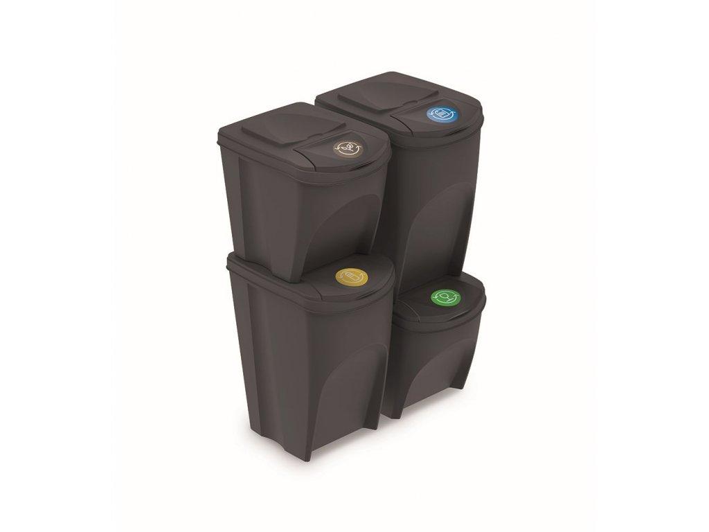 Sada 4 odpadkových košů SORTIBOX V antracit, objem 2x25l a 2x35l