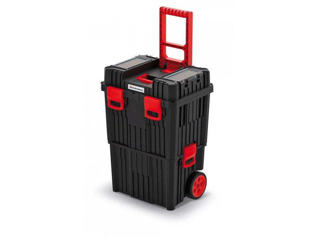 Modulární kufr na nářadí s transp. kolečky HEAVY černý 450x360x640