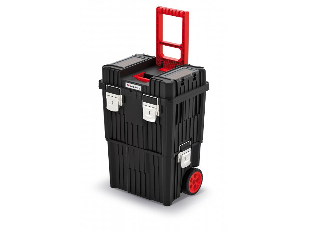 Modulární kufr na nářadí s transp. kolečky a kov. zámky HEAVY černý 450x360x640