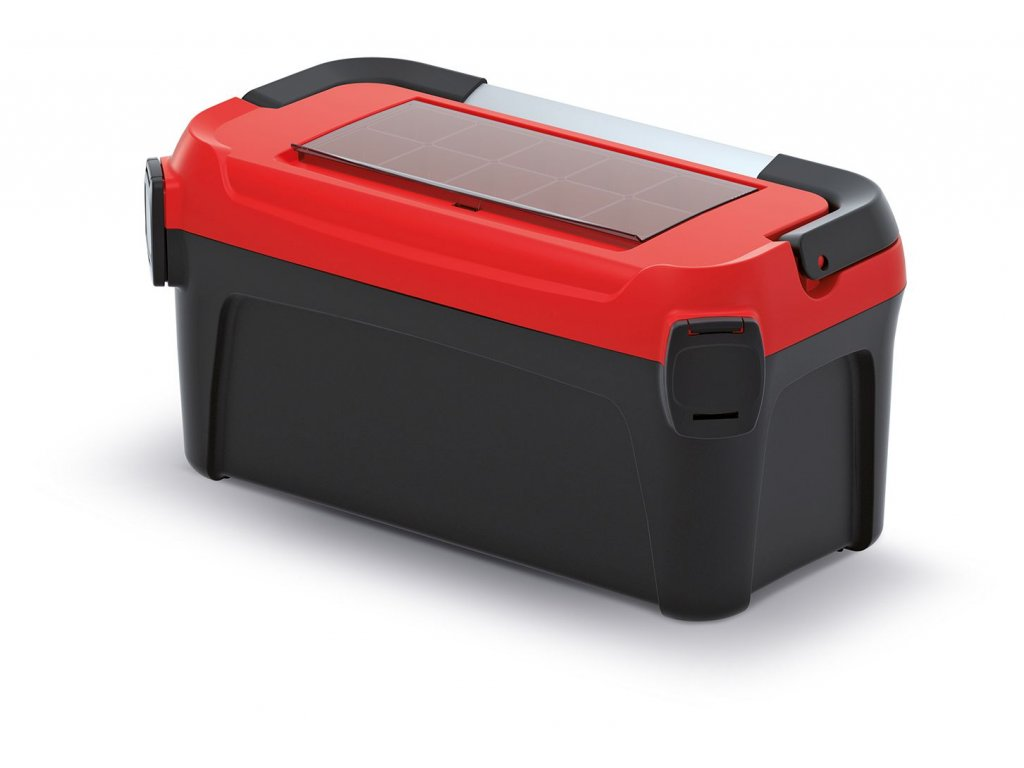 Kufr na nářadí s kov. držadlem SMART červené víko 500x251x243