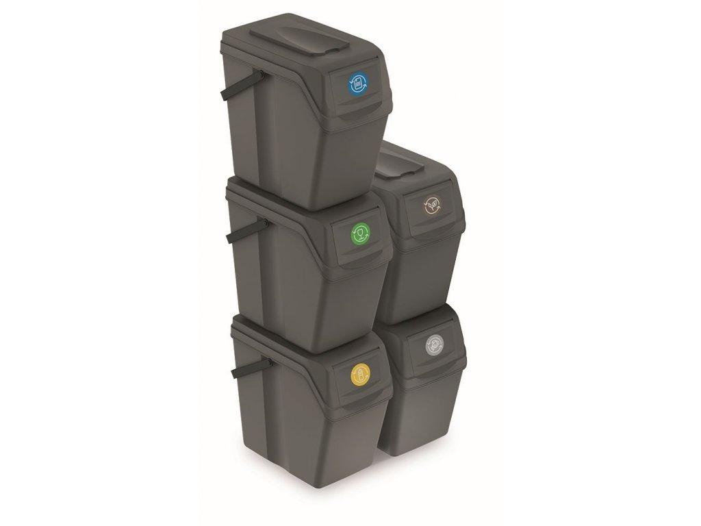 Sada 5 odpadkových košů SORTIBOX II šedý kámen, objem 5x25L