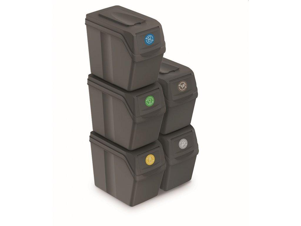 Sada 5 odpadkových košů SORTIBOX I šedý kámen, objem 5x20L