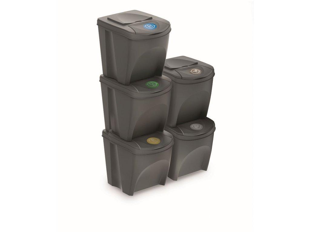 Sada 5 odpadkových košů SORTIBOX III šedý kámen, objem 5x25L