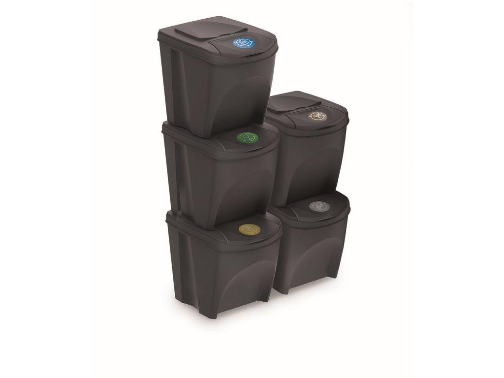 Sada 5 odpadkových košů SORTIBOX III antracit, objem 5x25L