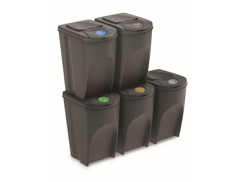 Sada 5 odpadkových košů SORTIBOX IV šedý kámen, objem 5x35L