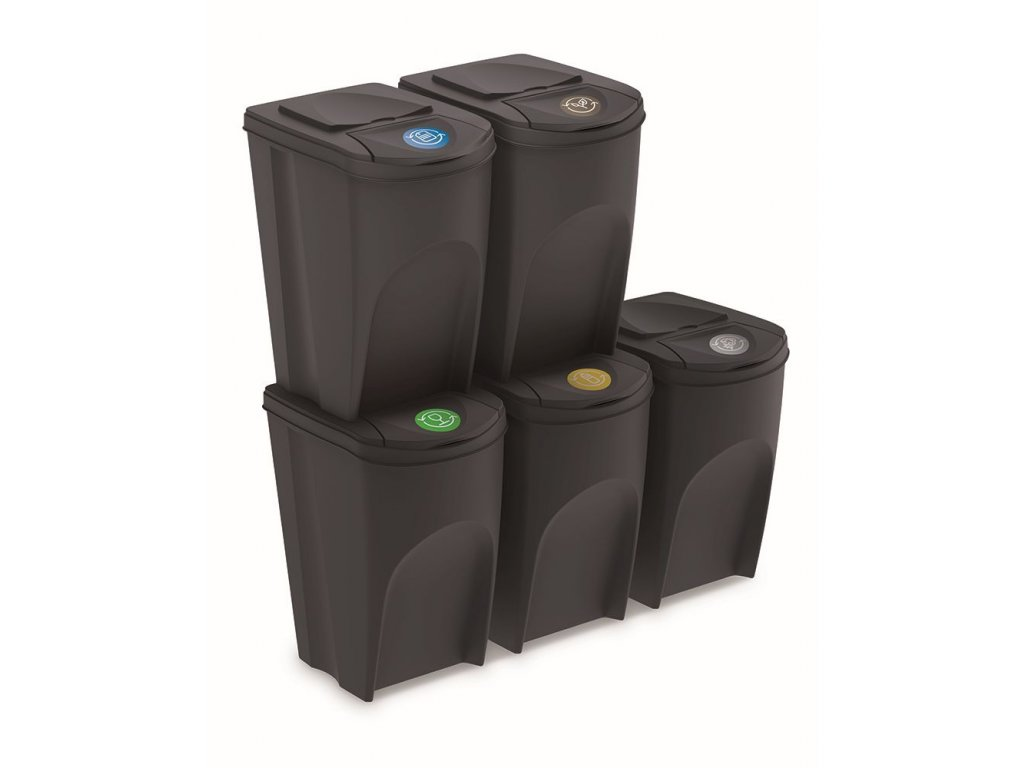 Sada 5 odpadkových košů SORTIBOX IV antracit, objem 5x35L