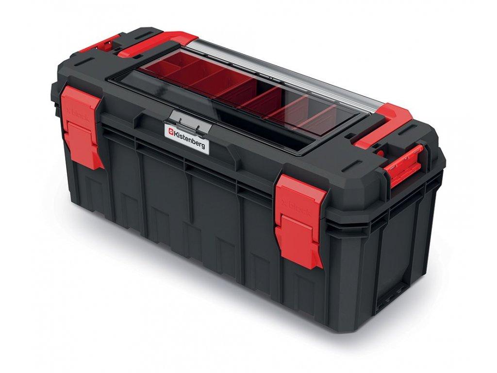 Kufr na nářadí s organizérem ve víku, kov. držadlo X BLOCK SOLID 650x280x314