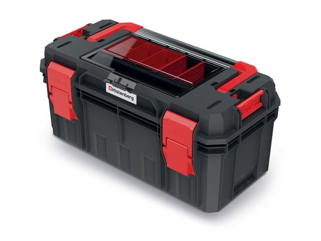 Kufr na nářadí s organizérem ve víku, kov. držadlo X BLOCK SOLID 550x280x264