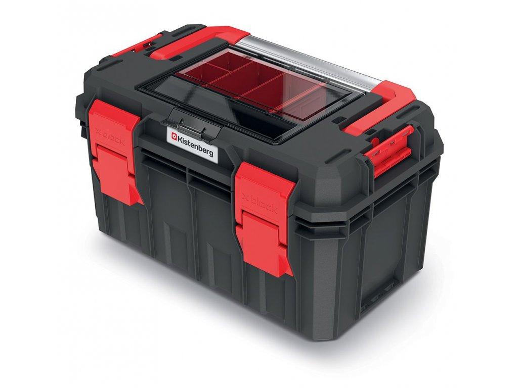 Kufr na nářadí s organizérem ve víku, kov. držadlo X BLOCK SOLID 450x280x264