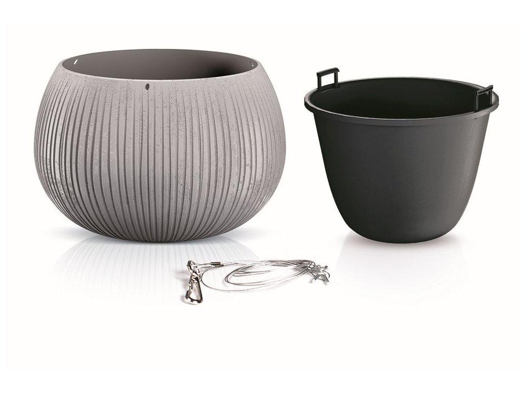 Květináč s vkladem a ocel. lankem BETON BOWL WS šedý 23,8 cm