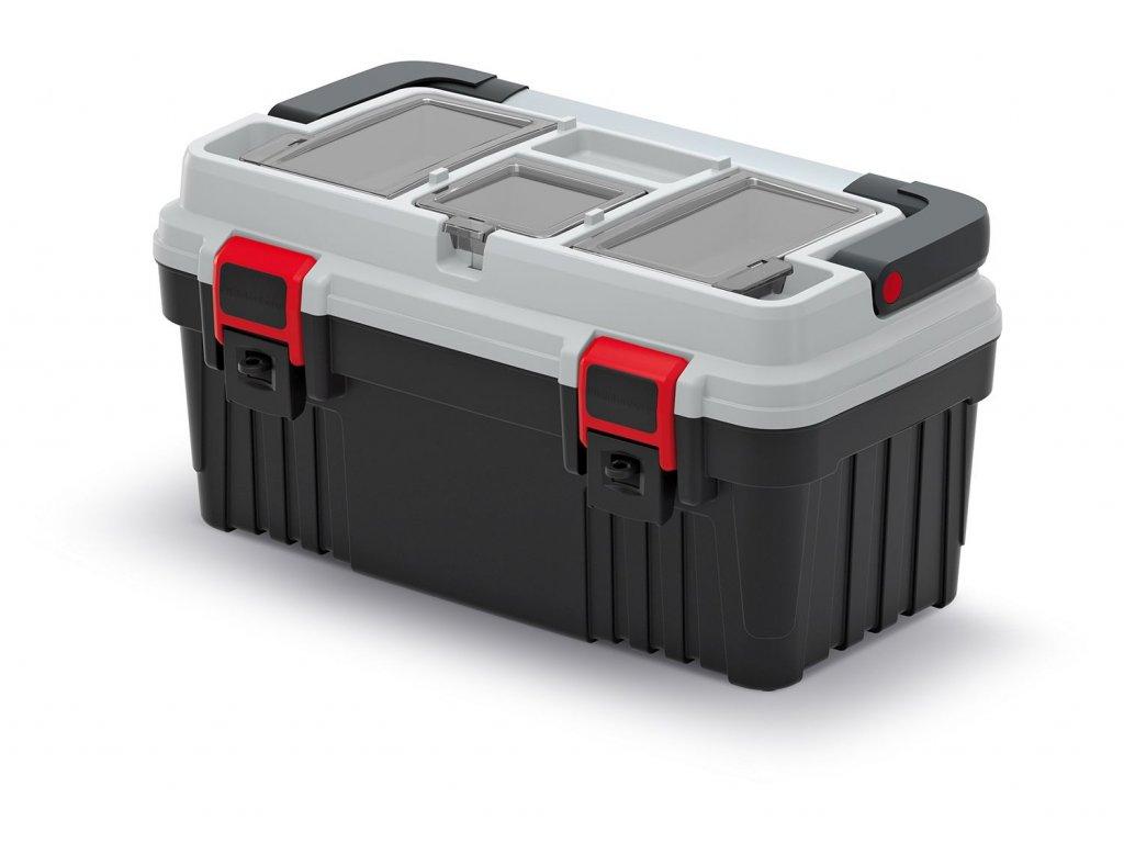 Kufr na nářadí s kov. držadlem OPTIMA šedý 470x256x238