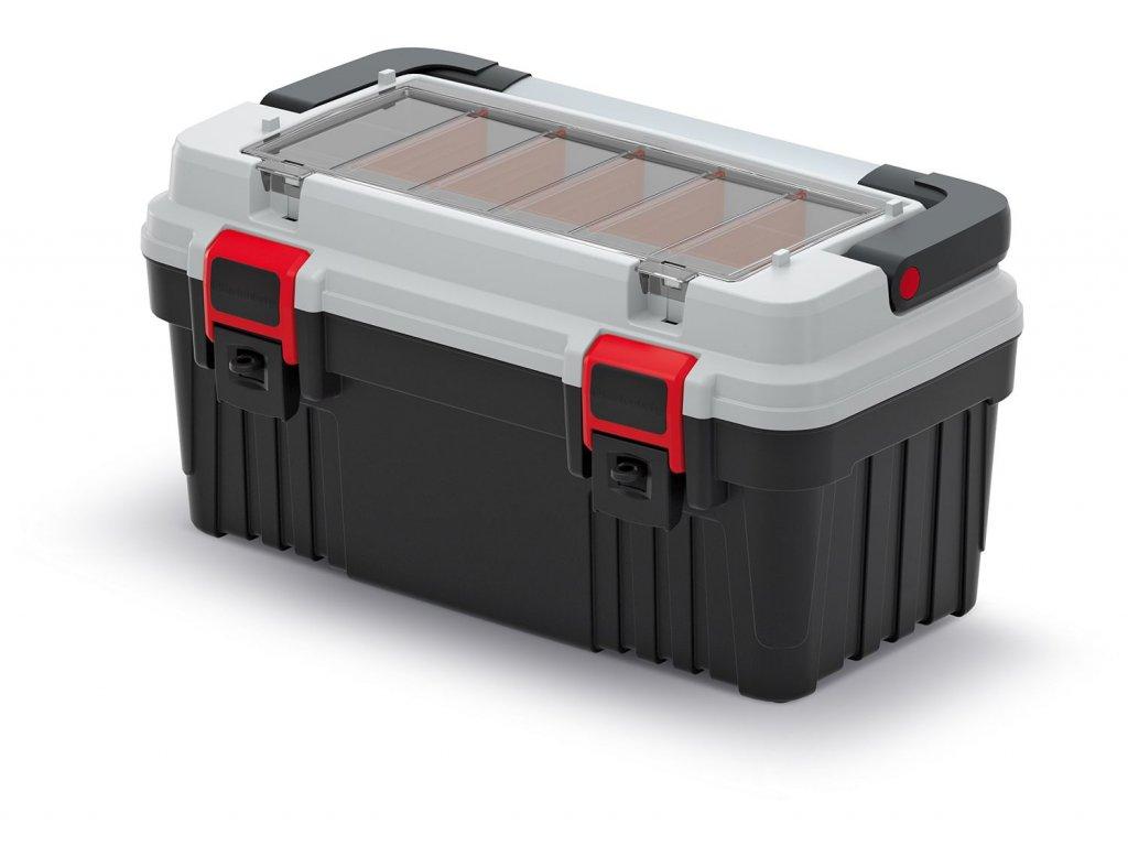 Kufr na nářadí s kov. držadlem OPTIMA šedý 470x256x238 (přepážky)