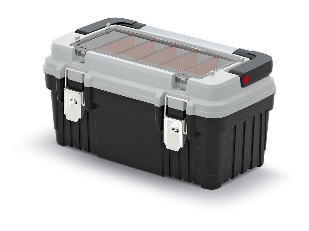 Kufr na nářadí s kov. držadlem a zámky OPTIMA šedý 470x256x238 (přepážky)