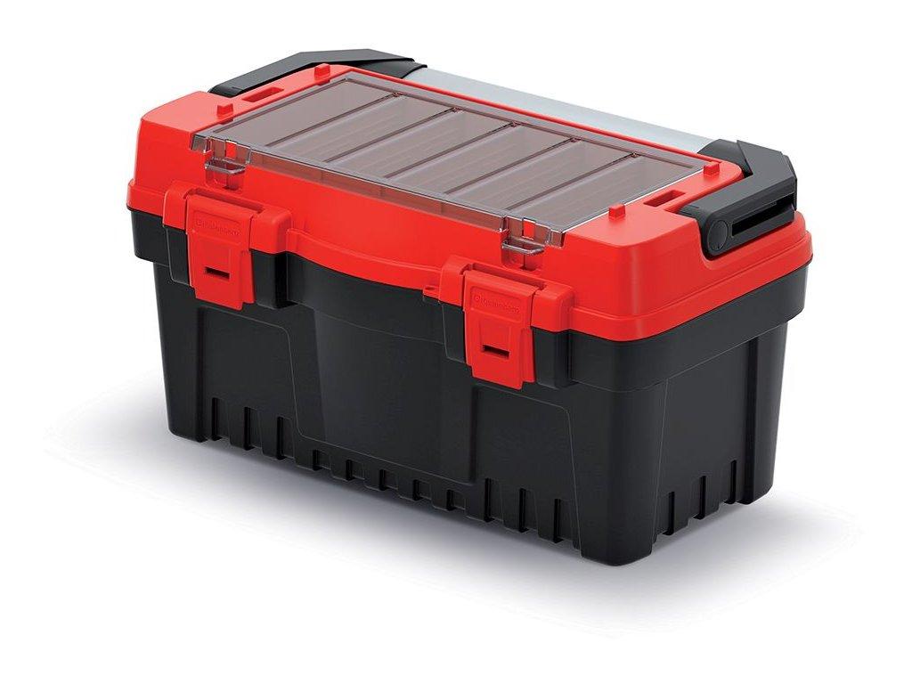 Kufr na nářadí s kov. držadlem EVO červený 476x260x256 (přepážky)