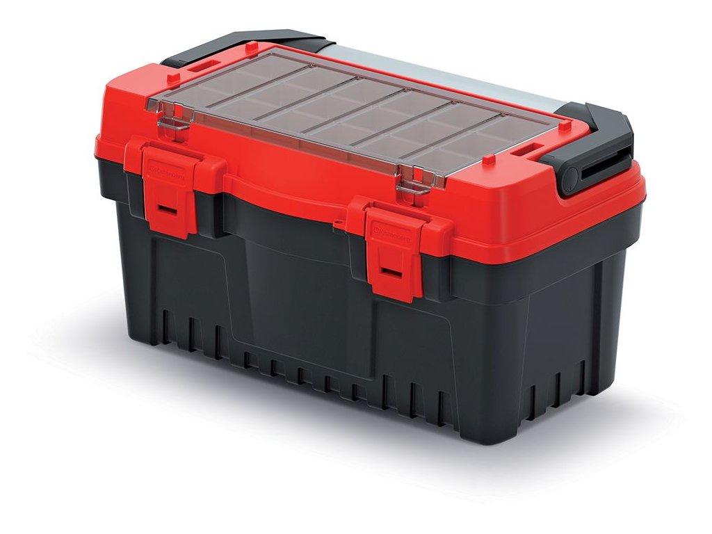 Kufr na nářadí s kov. držadlem EVO červený 476x260x256 (krabičky)