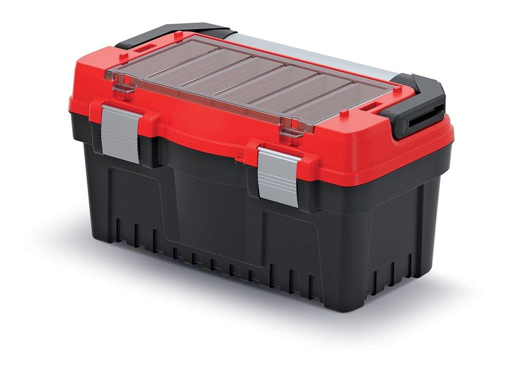 Kufr na nářadí s kov. držadlem a zámky EVO červený 476x260x256 (přepážky)