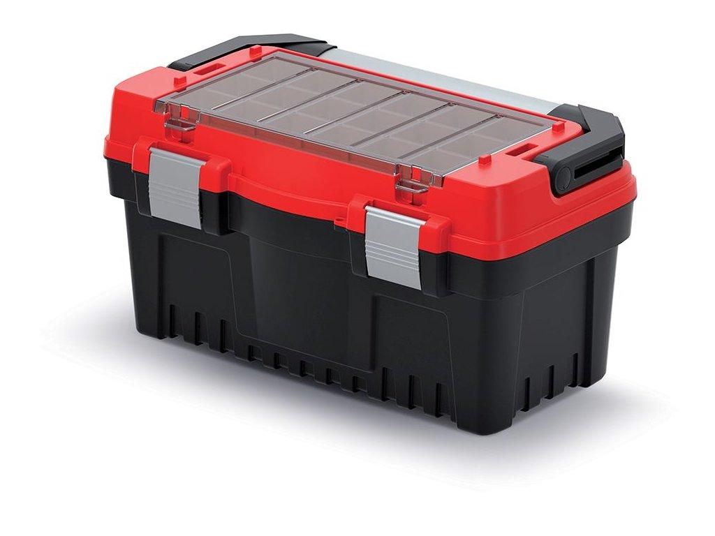 Kufr na nářadí s kov. držadlem a zámky EVO červený 476x260x256 (krabičky)