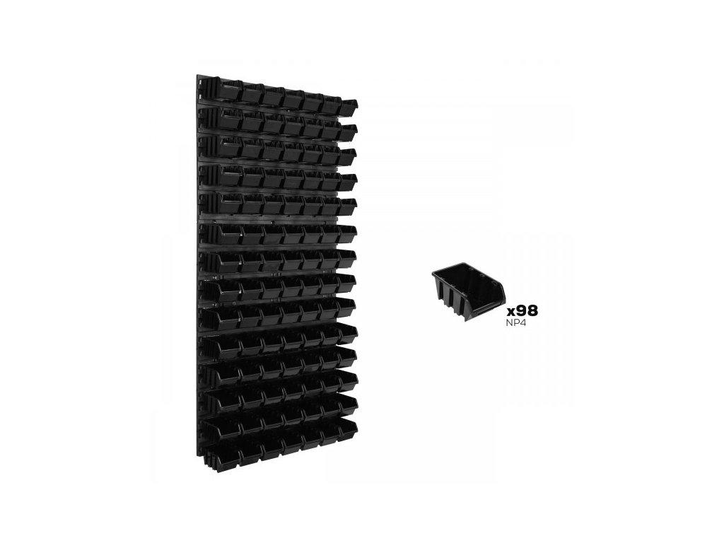Pracovná stena 578 x 1170 mm + 98 boxov