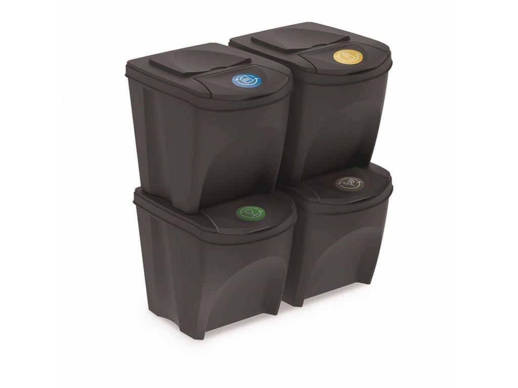 Sada 4 odpadkových košů SORTIBOX antracit, objem 4x25L