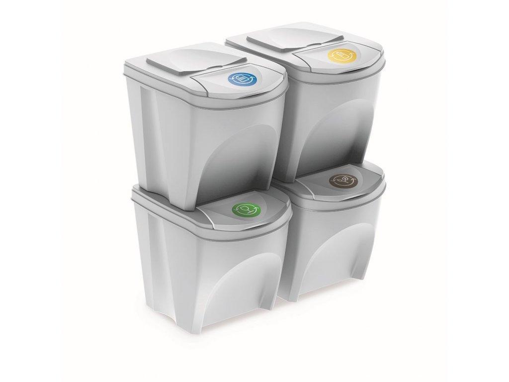 Sada 4 odpadkových košů SORTIBOX bílá, objem 4x25L