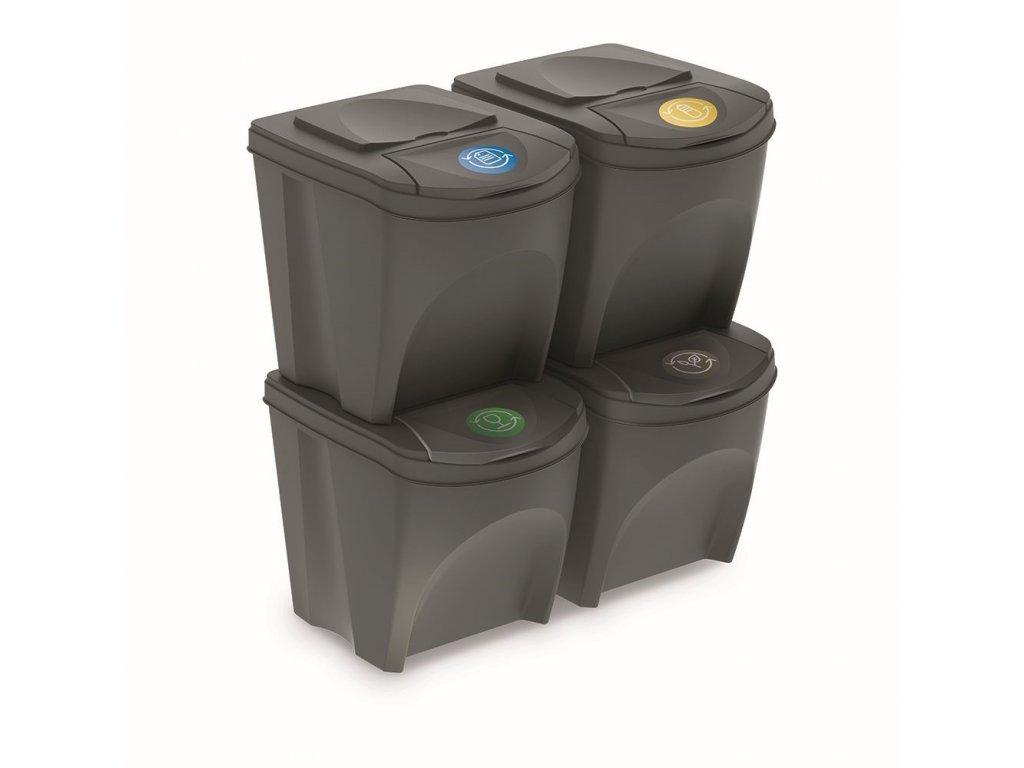Sada 4 odpadkových košů SORTIBOX šedý kámen, objem 4x25L