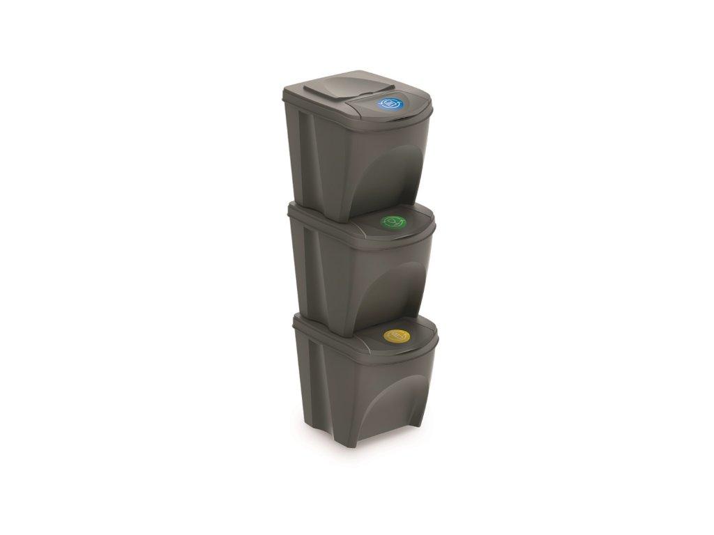 Sada 3 odpadkových košů SORTIBOX šedý kámen, objem 3x25L