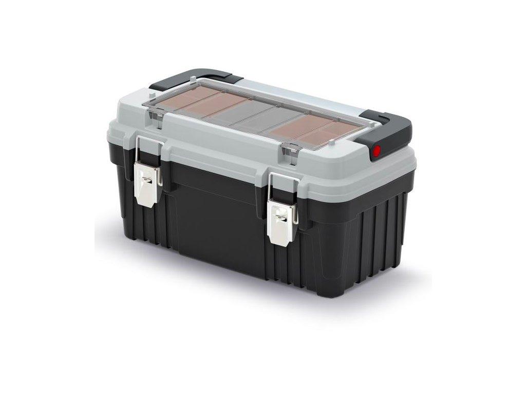 Kufr na nářadí s kov. držadlem a zámky OPTIMA šedý (krabičky)